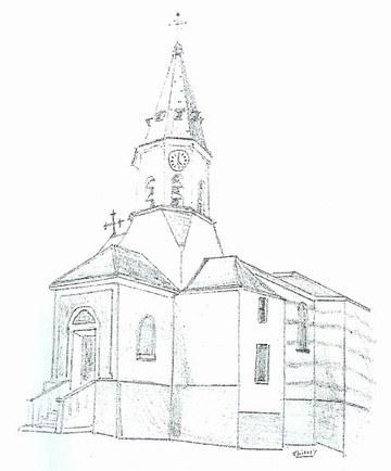 Eglise saint joseph de la demi lune lyon france - Eglise dessin ...